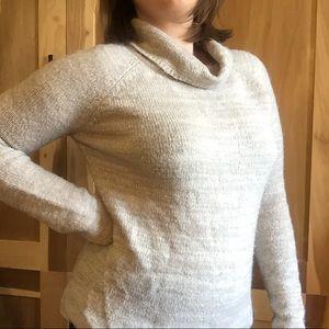 Pale Grey Marled Turtleneck Manguun Sweater Sz L